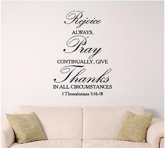 Bible Verse Wall Art 1 Thessalonians 5:16 Scripture Wall Intended For Bible Verses Wall Art (View 2 of 20)