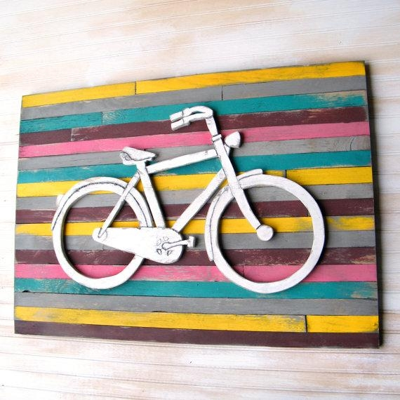 Bicycle Art Pallet Background Large Bicycle Wall Decor Wooden With Bicycle Wall Art Decor (Image 8 of 20)
