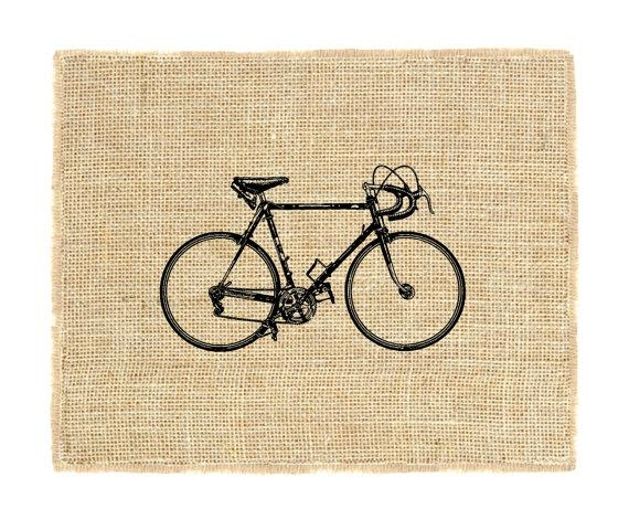 Bicycle Unframed Bike Burlap Wall Art Racing Bike Cycling Regarding Cycling Wall Art (Image 9 of 20)