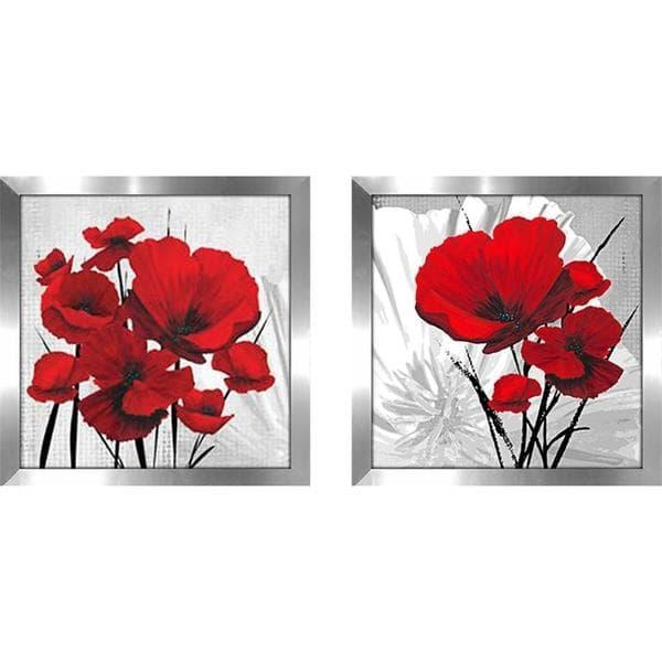 "Big Red Poppies"" Wall Art Set Of 2, Matching Set – Free Shipping Within Matching Wall Art Set (Image 3 of 20)"