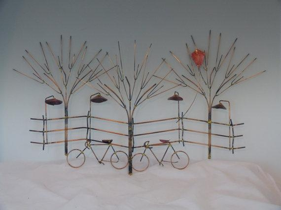 Bikes And Trees Metal Sculpture:bike Wall Decormetal Pertaining To Bicycle Wall Art Decor (View 12 of 20)