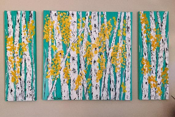 Birch Aspen Tree Wall Art Original Painting 54 X 24 H X  (View 16 of 20)
