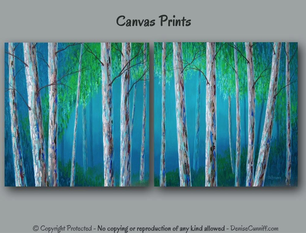 Birch Tree Painting Canvas Art Print Set Large Wall Art Intended For Blue Wall Art (View 3 of 20)