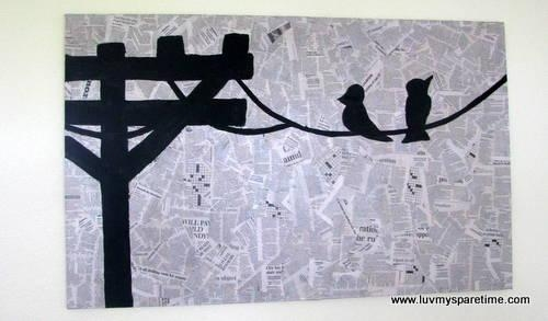 Bird On A Wire Newsprint Decoupage Diy Art – Luv My Spare Time In Decoupage Wall Art (Image 6 of 20)