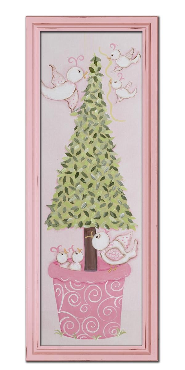 Bird Topiary Wall Art – Pink Frame Pertaining To Topiary Wall Art (View 13 of 20)