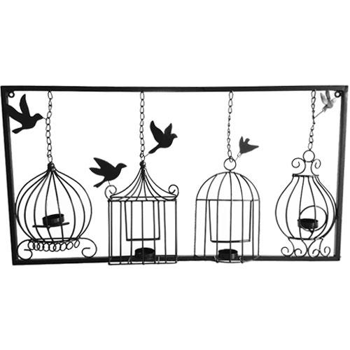 Birdcage Tea Light Wall Art Metal Wall Hanging Candle Holder Black Intended For Metal Birdcage Wall Art (View 2 of 20)