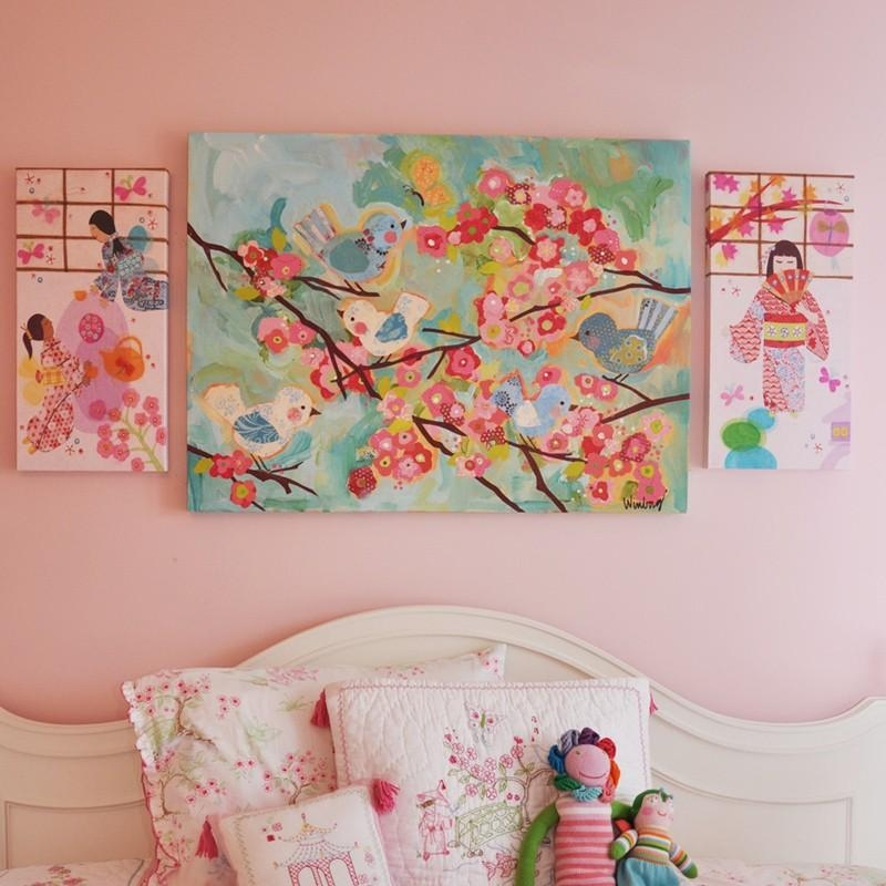 Birdies And Branches Canvas Wall Artoopsy Daisy Pertaining To Girls Canvas Wall Art (Image 10 of 20)