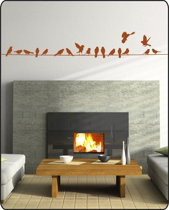 Birds On A Wire Wall Decal 12 Feet Long Vinyl Wall Sticker Throughout Tim Burton Wall Decals (Image 10 of 20)