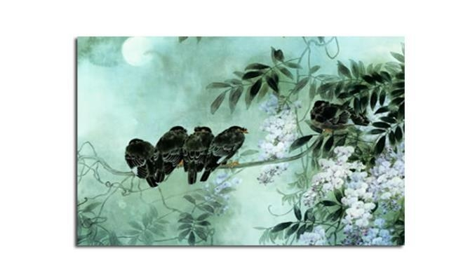 Birds On Blossom – Duck Egg Blue Canvas Wall Art Picture 30X20 Inch With Regard To Duck Egg Blue Wall Art (Image 3 of 20)