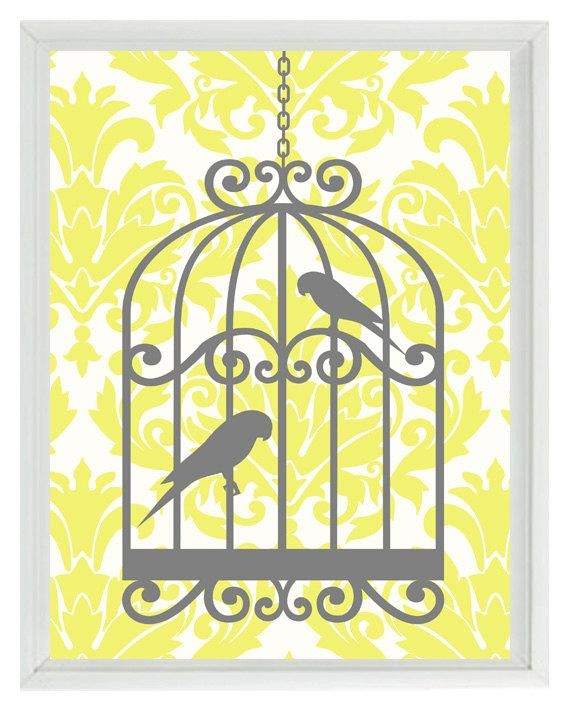 Birds Wall Art Print Yellow Gray Decor Damask Bird Cage Within Yellow Grey Wall Art (Image 6 of 20)