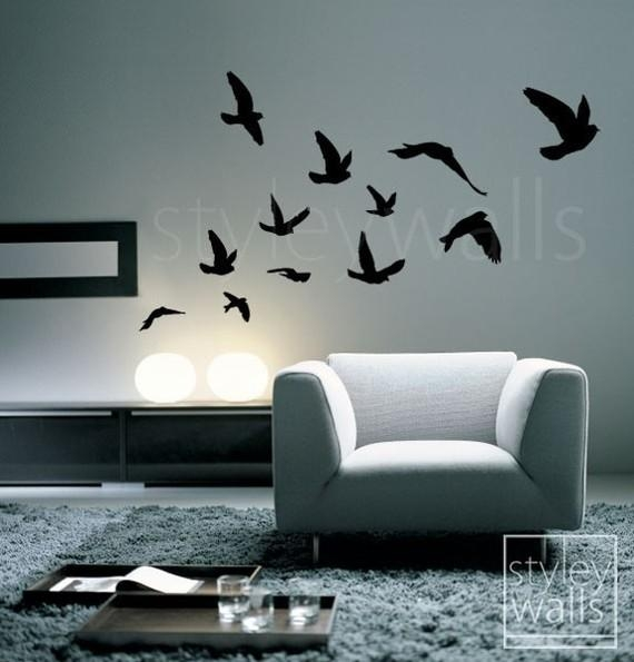 Birds Wall Decal Flying Birds Set Of 12 Vinyl Wall Decal Intended For Flock Of Birds Wall Art (Image 6 of 20)