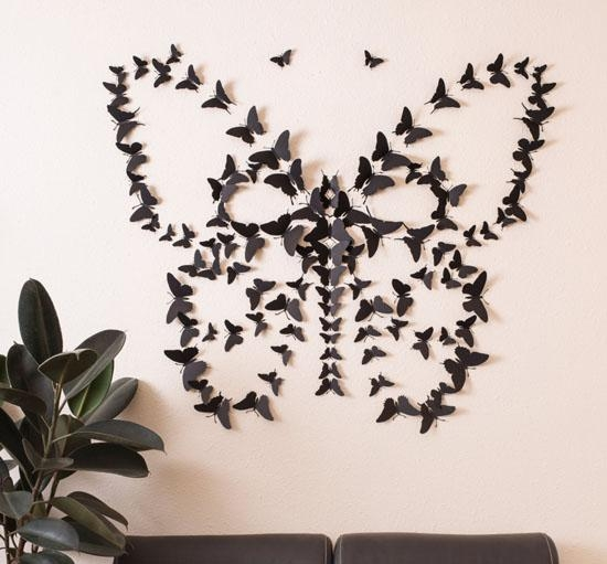 Black 3D Butterfly Wall Art : No More Boring Wall! | Modern Home Decor With Butterflies 3D Wall Art (Image 14 of 20)