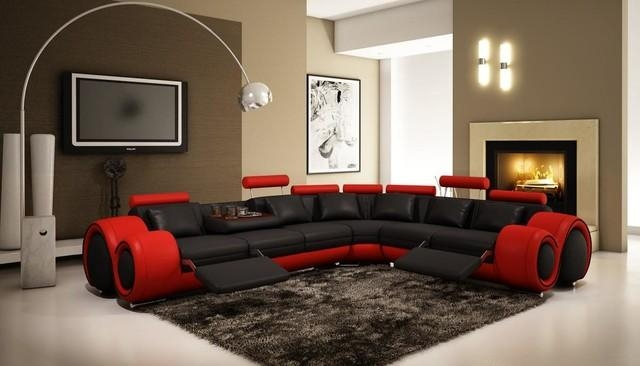 Black And Red Sectional Sofa With Adjustable Headrest – Modern Throughout Black And Red Sofas (Image 5 of 20)