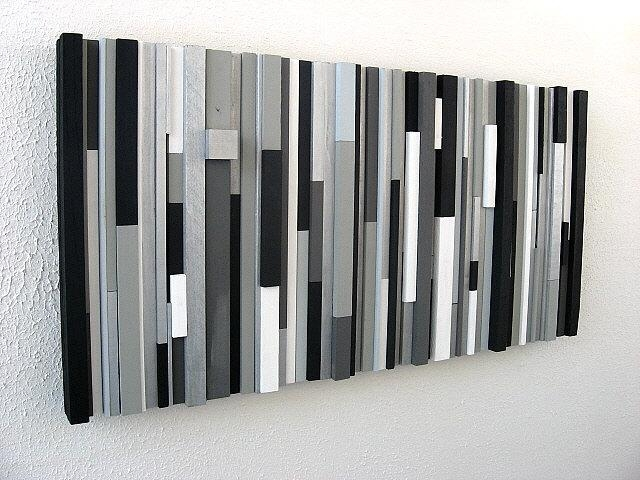 Black And White Abstract Art Modern Wall Art Wood Sculpture Throughout Black Silver Wall Art (Image 7 of 20)