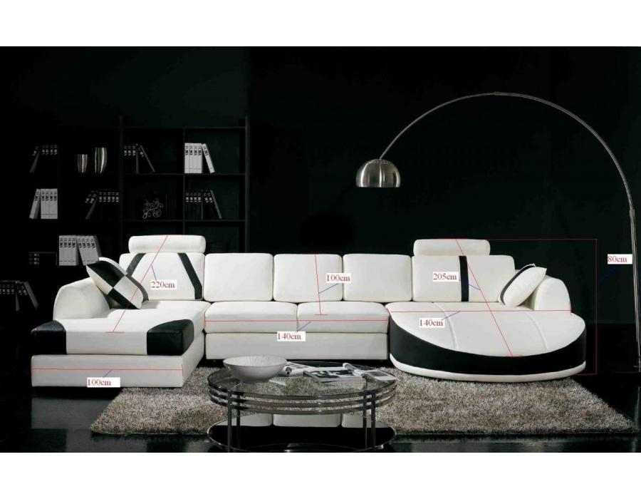 Black And White Italian Corner Leather Sofa – S3Net – Sectional Intended For Black And White Leather Sofas (Image 6 of 20)