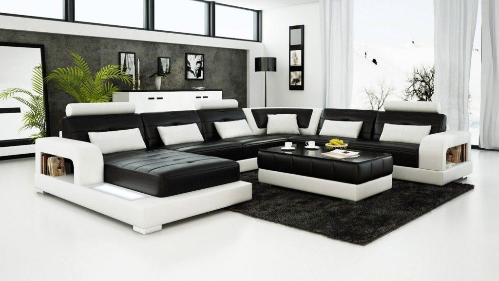Black And White Leather Sofa Set For A Modern Living Room | Eva Pertaining To Black And White Sofas And Loveseats (Image 12 of 20)