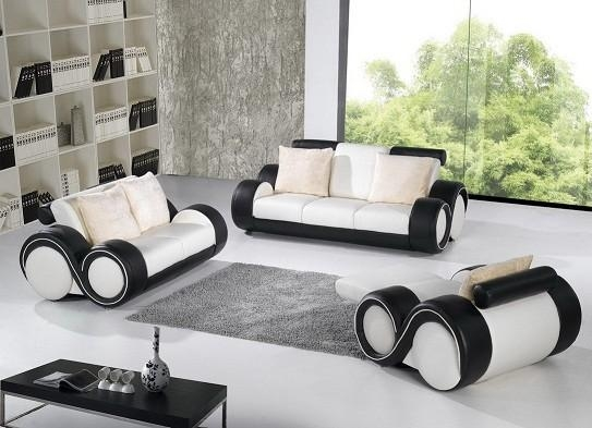 Black And White Leather Sofa Set Inside Black And White Leather Sofas (Image 7 of 20)