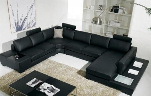 Black Bonded Leather Sectional Sofa With Light – Modern – Living With Black Modern Sectional Sofas (Image 5 of 20)