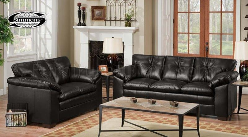 Black Bonded Leather Sofa & Loveseat Set 8650Just In Time With Regard To Black Leather Sofas And Loveseat Sets (Image 6 of 20)