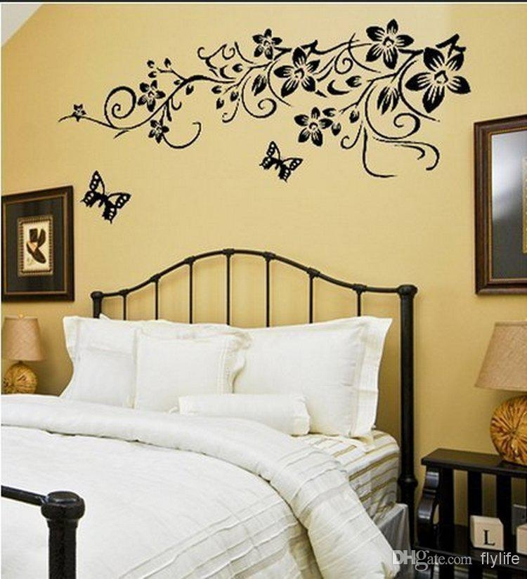 Black Butterflies Wall Stickers Flowers Art Home Decor Wall Decals With Regard To Butterflies Wall Art Stickers (Image 9 of 20)