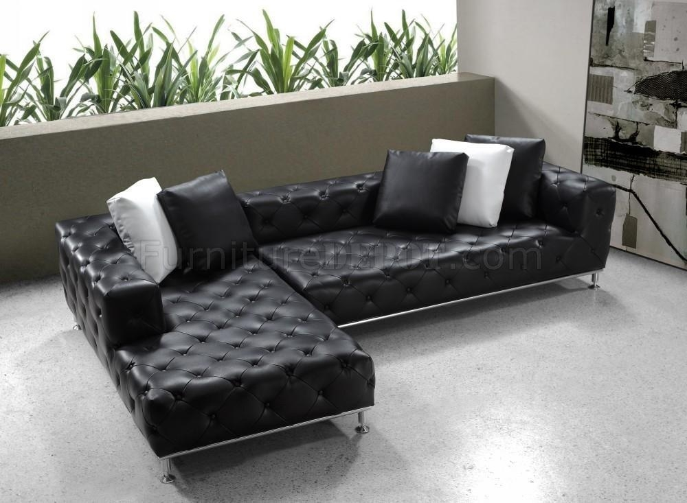 Black Button Tufted Leather Modern Sectional Sofa W/steel Legs With Black Modern Sectional Sofas (Image 6 of 20)
