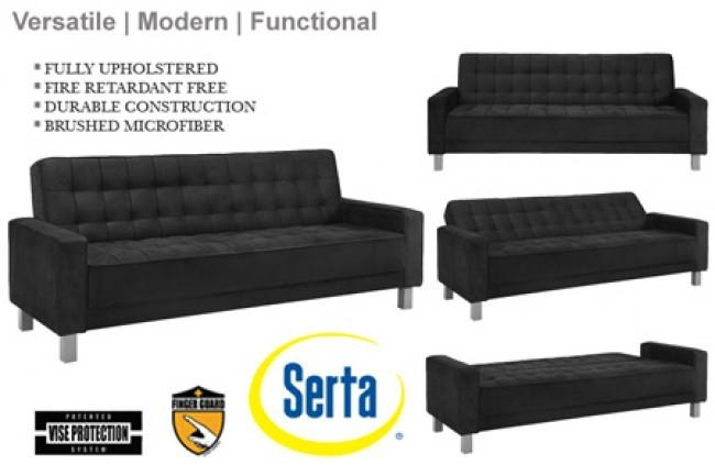 Black Contemporary Sofa Bed | Montrose Convertible Sofa | Black Intended For Convertible Futon Sofa Beds (Image 6 of 20)