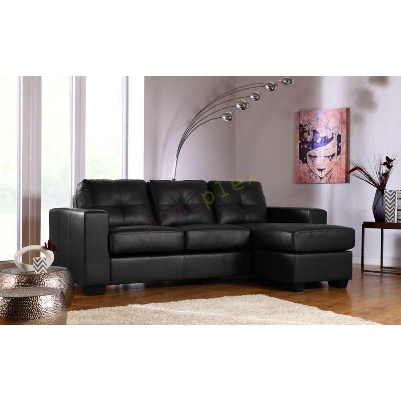Black Corner Sofa L Shaped With Chaise Black Pu Leather Corner Throughout Black Corner Sofas (View 10 of 20)
