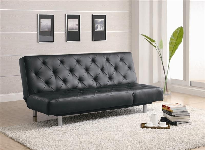 Black Durable Leather Like Vinyl Sofa Bedcoaster – 300304 Within Black Vinyl Sofas (Image 4 of 20)