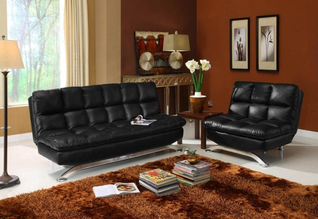 Black Faux Leather Futon $441 Throughout Faux Leather Futon Sofas (Image 11 of 20)