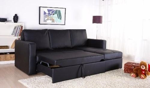 Black Faux Leather Sectional Sofa Bed With Right Facing Storage With Regard To Chaise Sofa Beds With Storage (Photo 20 of 20)