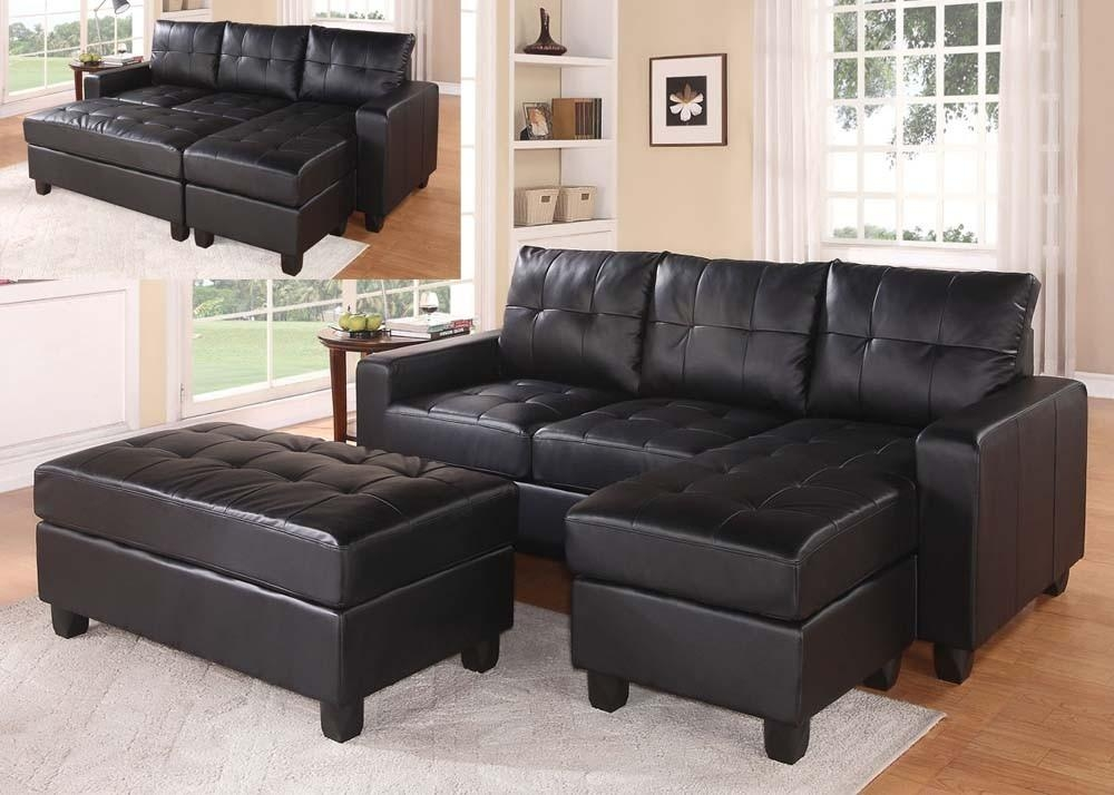 Black Faux Leather Sectional Sofa With Reversible Chaise And Intended For Black Leather Chaise Sofas (View 11 of 20)