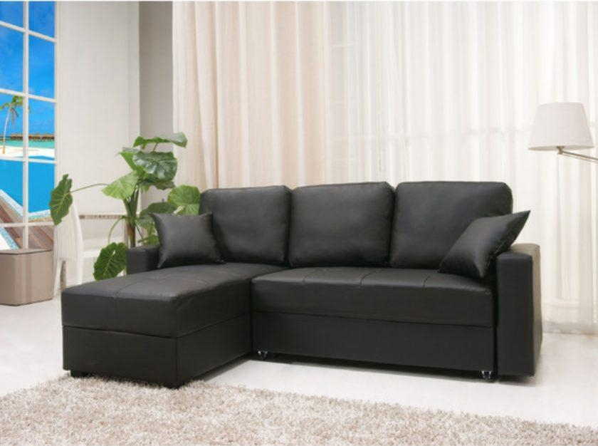 Black Faux Leather Sleeper Sofa With Left Chaise Lounge Added With Regard To Faux Leather Sleeper Sofas (View 18 of 20)
