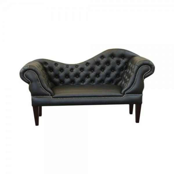 Black Faux Leather Slipper Sofa In Slipper Sofas (Image 3 of 20)