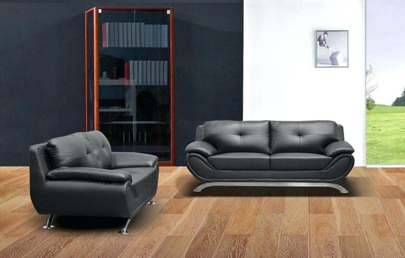 Black Leather Modern Sofa – Seedabook Pertaining To Low Height Sofas (Image 4 of 20)