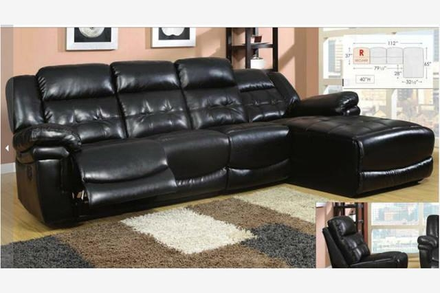 Black Leather Reclining Sectional Sofa Recliner Chaise Adjustable Back In Black Leather Chaise Sofas (View 5 of 20)
