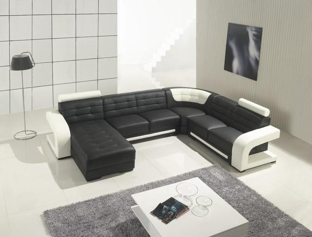 Black Leather Sectional Sofa With Chaise – Modern – Living Room Pertaining To Black Modern Sectional Sofas (Image 8 of 20)