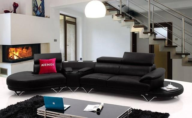 Black Leather Sectional Sofa With Cup Holders – Modern – Living With Sofas With Cup Holders (Image 2 of 20)