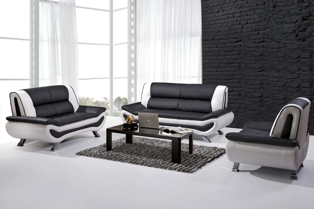 Black Leather Sofa Set | Ira Design With Regard To Black And White Leather Sofas (Image 10 of 20)
