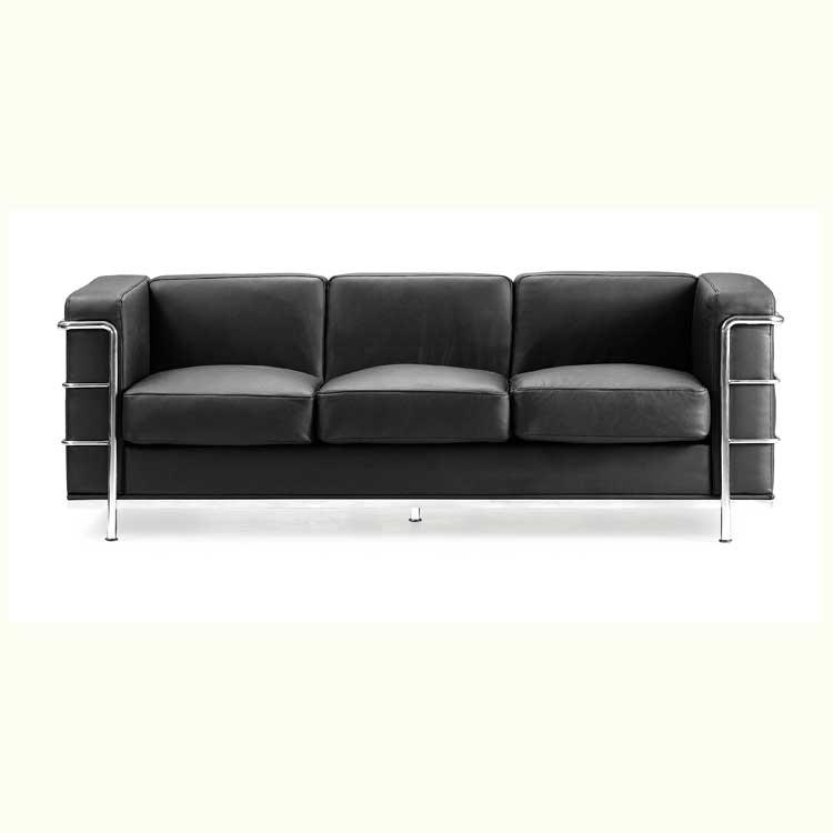 Black Leather Sofa With Steel Tube Chrome Frame From Art Furniture Regarding Sofas With Chrome Legs (Image 5 of 20)