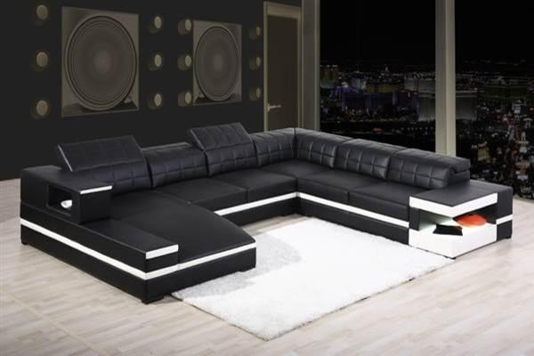 Black Modern Sectional Sofa With End Table Corner – S3Net Pertaining To Black Modern Sectional Sofas (Image 9 of 20)