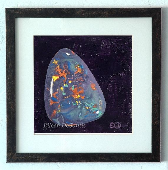 Black Opal Gemstone Painting Print Gemstone Art Opal In Gemstone Wall Art (Image 7 of 20)