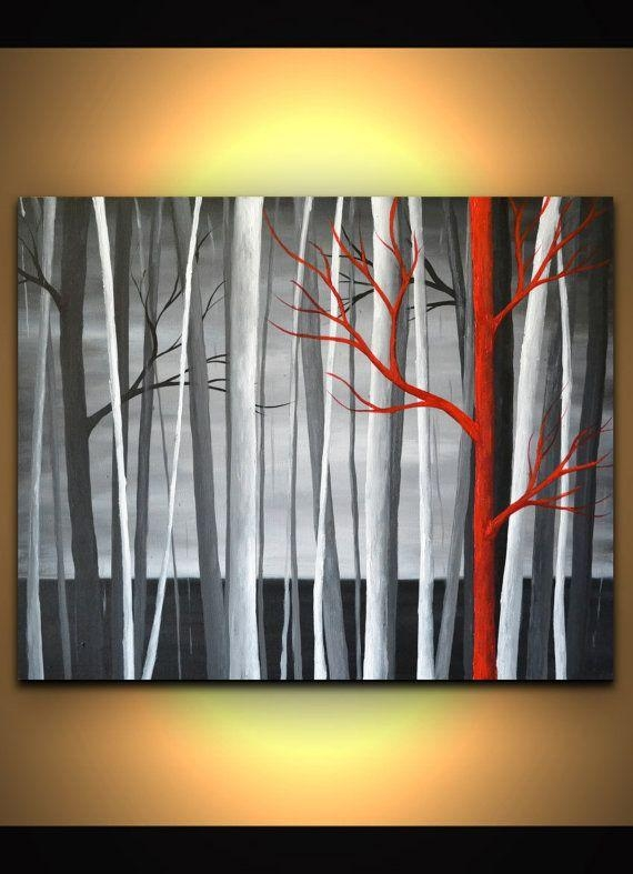 Black Red White Abstract Trees Painting Modern Wallzarasshop With Black White And Red Wall Art (View 17 of 20)