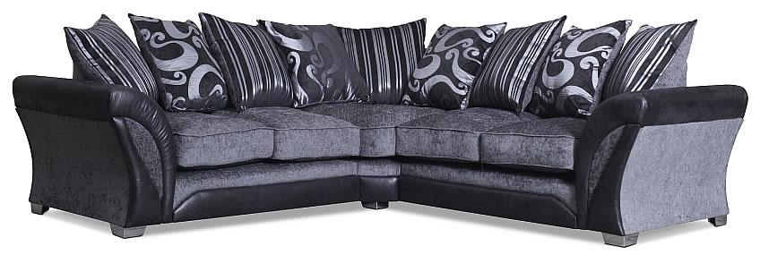 Black & Silver Fabric Corner Sofa | Contemporary Corner Sofas Regarding Black Corner Sofas (View 13 of 20)