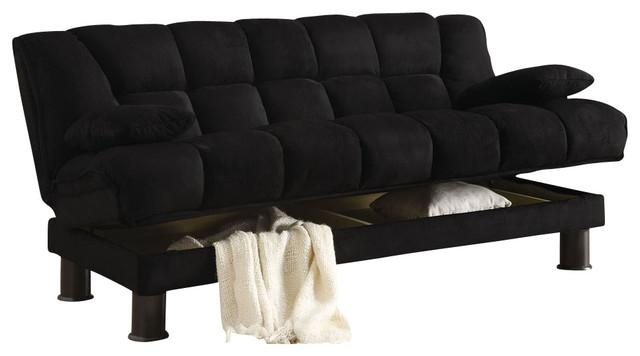 Black Skin Microfiber Adjustable Tufted Storage Futon Sofa Bed Inside Small Black Futon Sofa Beds (Image 11 of 20)