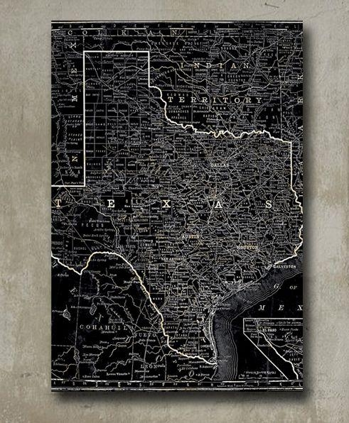 Black Texas State Map Wall Art – Mecox Gardens In Map Wall Art (Image 8 of 20)