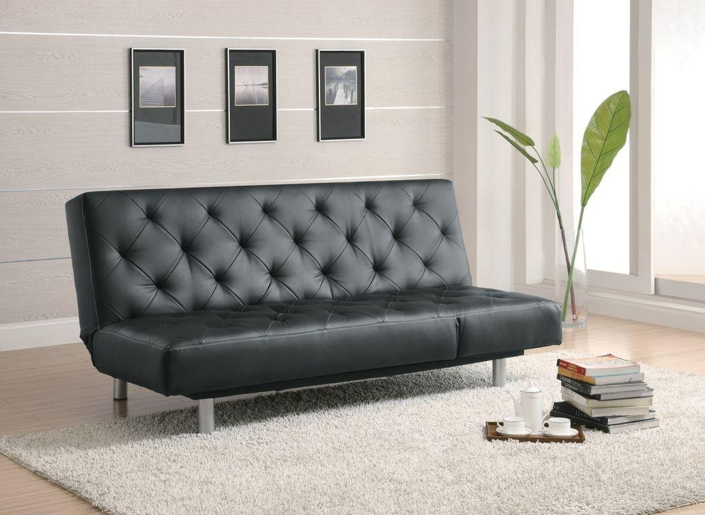Black Tufted Faux Leather Adjustable Sofa Bed / Futon Lowest Price With Regard To Faux Leather Futon Sofas (Image 12 of 20)