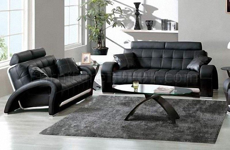 Black Tufted Leather Sofa & Loveseat W/silver Leather Accents In Black Leather Sofas And Loveseats (Image 7 of 20)