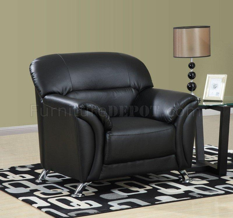Black Vinyl Leather Modern Sofa W/chromed Metal Legs Throughout Black Vinyl Sofas (Image 5 of 20)