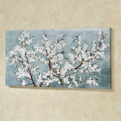 Blissful Branches Floral Canvas Wall Art Pertaining To Blue And White Wall Art (Image 8 of 20)