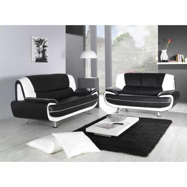 Blossom White And Black Top Graded Real Leather Sofa Best Hd Inside Black And White Leather Sofas (Image 11 of 20)